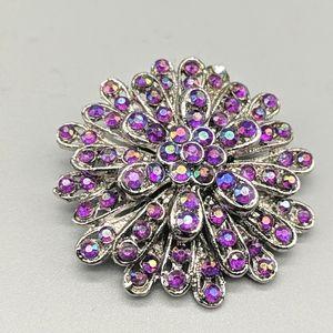 VINTAGE Purple Iridescent AB Rhinestone Brooch